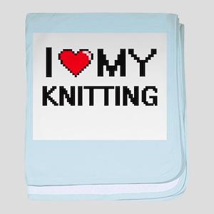 I Love My Knitting Digital Retro Desi baby blanket