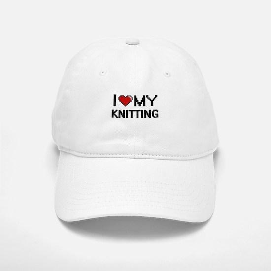I Love My Knitting Digital Retro Design Baseball Baseball Cap