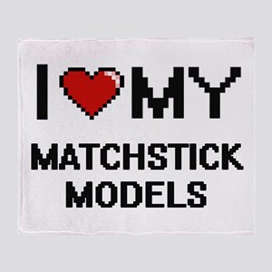 I Love My Matchstick Models Digital Throw Blanket