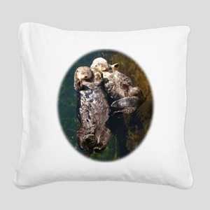 otterly adorable Square Canvas Pillow