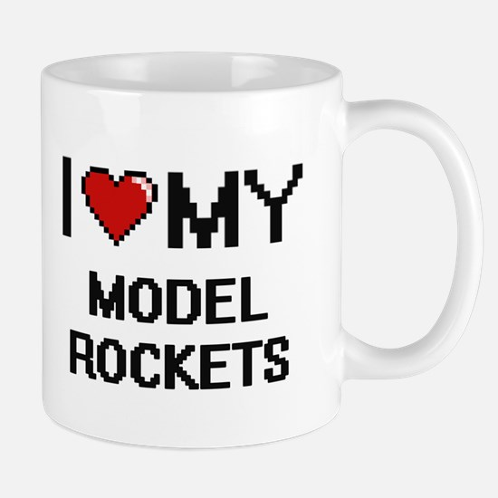 I Love My Model Rockets Digital Retro Design Mugs