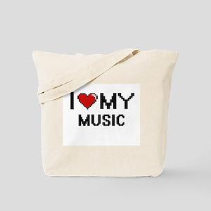 I Love My Music Digital Retro Design Tote Bag
