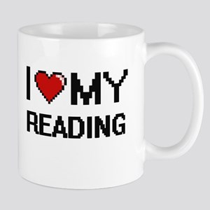I Love My Reading Digital Retro Design Mugs