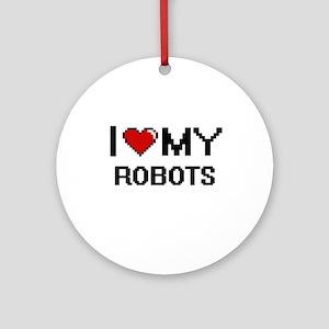 I Love My Robots Digital Retro Desi Round Ornament