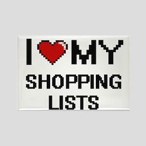 I Love My Shopping Lists Digital Retro Des Magnets