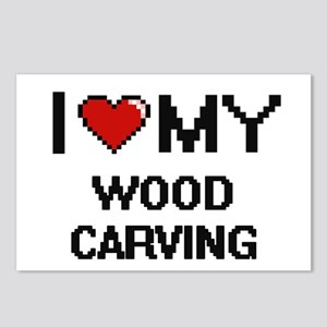 I Love My Wood Carving Di Postcards (Package of 8)