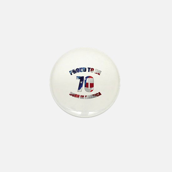 American 70th Birthday Mini Button