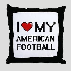 I Love My American Football Digital R Throw Pillow