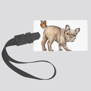 French bulldog & butterfly Large Luggage Tag