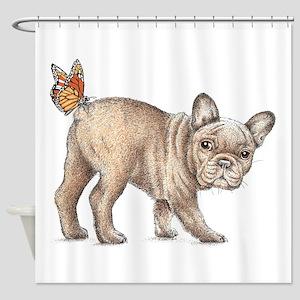 French bulldog & butterfly Shower Curtain