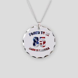 American 85th Birthday Necklace Circle Charm