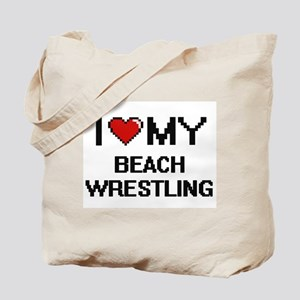 I Love My Beach Wrestling Digital Retro D Tote Bag