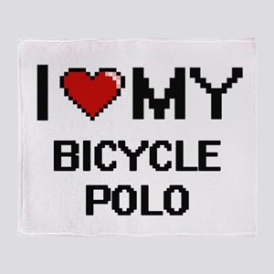 I Love My Bicycle Polo Digital Retro Throw Blanket