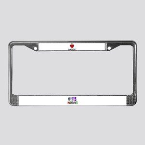I LOVE DADDY License Plate Frame