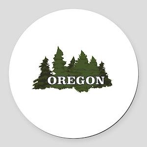oregon trees logo Round Car Magnet