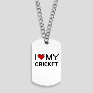 I Love My Cricket Digital Retro Design Dog Tags
