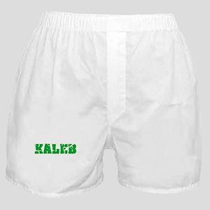 Kaleb Name Weathered Green Design Boxer Shorts