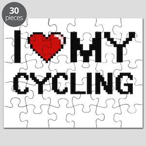 I Love My Cycling Digital Retro Design Puzzle