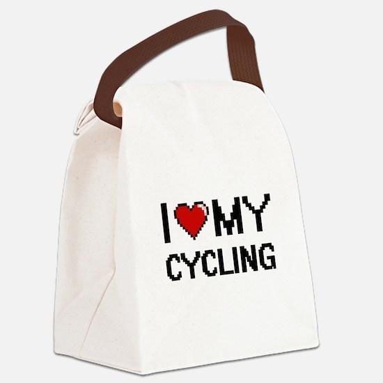 I Love My Cycling Digital Retro D Canvas Lunch Bag