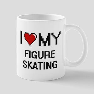 I Love My Figure Skating Digital Retro Design Mugs