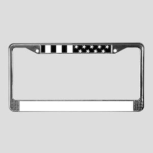 U.S. Flag: Black, Up & Down License Plate Frame