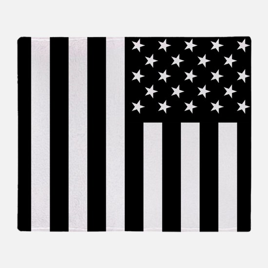 U.S. Flag: Black, Up & Down Throw Blanket