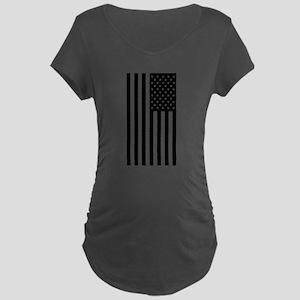 U.S. Flag: Black, Up & Down Maternity T-Shirt