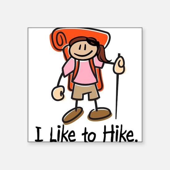 """Unique Female hiker Square Sticker 3"""" x 3"""""""