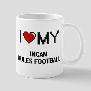 I Love My Incan Rules Football Digital Retro Mugs