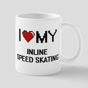 I Love My Inline Speed Skating Digital Retro Mugs