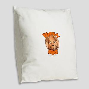 Lucky Dog Burlap Throw Pillow