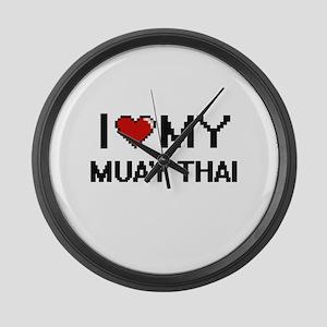 I Love My Muay Thai Digital Retro Large Wall Clock
