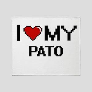 I Love My Pato Digital Retro Design Throw Blanket