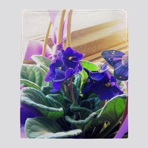 Purple Violet Basket  Throw Blanket