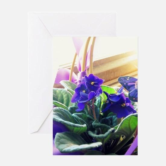 Purple Violet Basket  Greeting Card