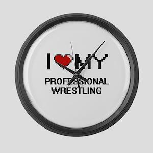 I Love My Professional Wrestling Large Wall Clock