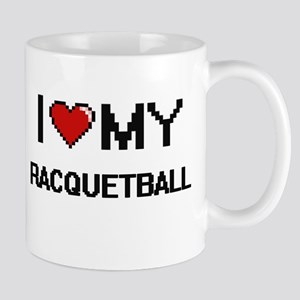 I Love My Racquetball Digital Retro Design Mugs