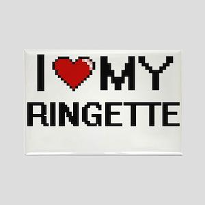 I Love My Ringette Digital Retro Design Magnets