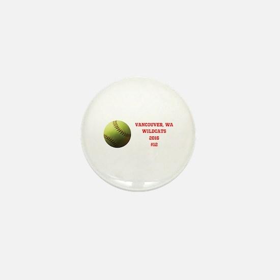 Yellow Softball Team Design Mini Button