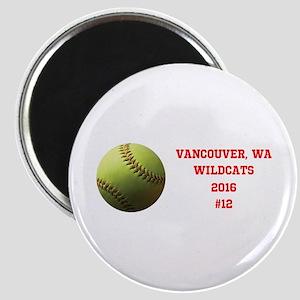 Yellow Softball Team Design Magnets