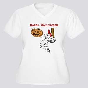 Ghostly Batter Halloween Women's Plus Size V-Neck