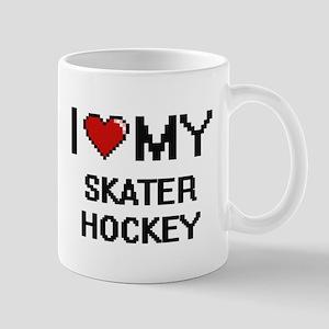 I Love My Skater Hockey Digital Retro Design Mugs