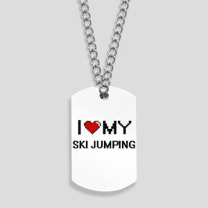 I Love My Ski Jumping Digital Retro Desig Dog Tags