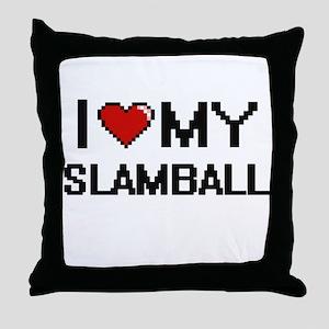 I Love My Slamball Digital Retro Desi Throw Pillow