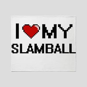 I Love My Slamball Digital Retro Des Throw Blanket