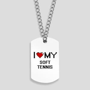 I Love My Soft Tennis Digital Retro Desig Dog Tags