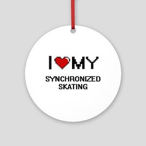 I Love My Synchronized Skating Digi Round Ornament