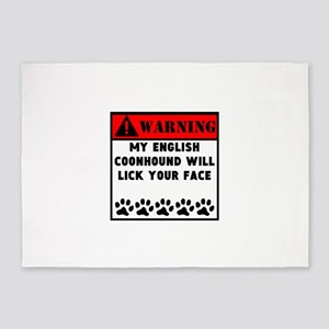 English Coonhound Will Lick Your Face 5'x7'Area Ru