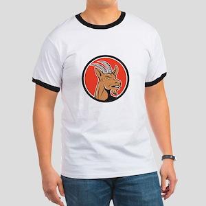 Mountain Goat Head Circle Cartoon T-Shirt