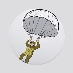 American Paratrooper Parachute Cartoon Round Ornam